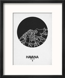 Havana Street Map Black on White Reproduction encadrée par NaxArt