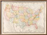 Antique Vintage Color Map United States of America, USA Reproduction encadrée par Qingwa
