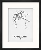 Cape Town Street Map White Reproduction encadrée par NaxArt