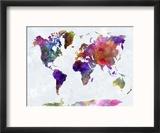 World Map in Watercolorpurple and Blue Reproduction encadrée par Paulrommer