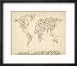 Music Notes Map of the World Map Reproduction encadrée par Michael Tompsett