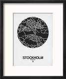 Stockholm Street Map Black on White Reproduction encadrée par NaxArt