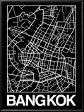 Black Map of Bangkok Reproduction encadrée par NaxArt
