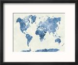 World Map in Watercolor Blue Reproduction encadrée par Paulrommer