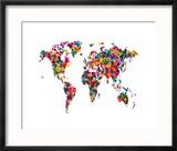 Love Hearts Map of the World Reproduction encadrée par Michael Tompsett