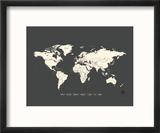 Black Map World Reproduction encadrée par Rebecca Peragine
