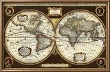 Decorative World Map Reproduction encadrée par Vision Studio