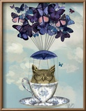 Owl in Teacup Reproduction encadrée par Fab Funky