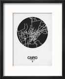 Cairo Street Map Black on White Reproduction encadrée par NaxArt