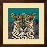 Leopard Queen Teal Reproduction encadrée par Sharon Turner