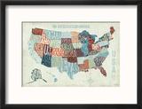Bleu moderne : carte des Etats-Unis Reproduction encadrée par Michael Mullan