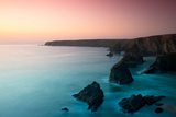 A View of the Bedruthan Steps at Dusk  Cornwall  England  United Kingdom  Europe