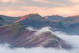 Catbells Mountain Surrounded by Morning Mist  Lake District National Park  Cumbria  England