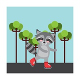 Cute Raccoon Animal over Landscape Colorful Design Illustration