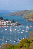 Boats Moored in the Sheltered Waters of Fowey Estuary Near Polruan  Cornwall  England