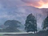 Atmospheric Misty Sunset Near Elterwater  Lake District  Cumbria  England Autumn (October) 2012