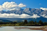 A Landscape Image of White Clouds Surrounding in the Canadian Rocky Mountains