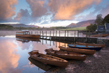 Boats Moored on Derwent Water at Dawn  Keswick  Lake District  Cumbria  England