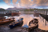 Boats and Jetties Near Friars Crag at Dawn  Derwent Water  Lake District  Cumbria  England