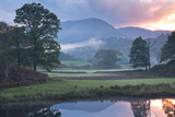 Atmospheric Sunset from the River Brathay Near Elterwater  Lake District  Cumbria  England