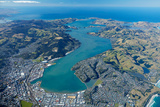 Dunedin and Otago Harbour  Otago  South Island  New Zealand - Aerial