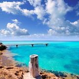 Illetes Illetas Beach Wooden Pier Turquoise Sea Formentera Balearic Islands Mediterranean