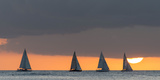 Sailboats in the Ocean at Sunset  Waikiki  Honolulu  Oahu  Hawaii  USA