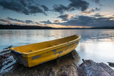 Yellow Rowing Boat on the Shore of a Lake in Bermagui  Australia at Sunset