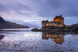 Twilight over Eilean Donan Castle on Loch Duich  Dornie  Scotland Winter (November) 2013