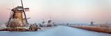The Netherlands  Kinderdijk  Windmills  UNESCO World Heritage Site Winter Panoramic View