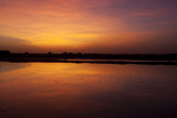 A Glowing Orange Sunset over Sambhar Salt Lake