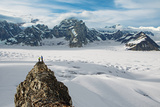 Climbers Take in the Vista of the Upper Ruth Glacier in Denali National Park and Preserve