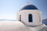 A Classic Blue Dome of a Greek Orthodox Church in Santorini  Greece
