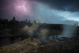 Lightning Strikes Above the Fan and Mortar Geysers in Yellowstone's Upper Geyser Basin