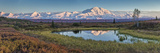 Ponds in Fall Colors under Mt Mckinley in Denali National Park