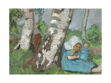Girl with a doll sitting at a birch trunk About 1902