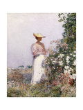 Lady in Flower Garden