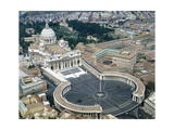 Aerial view of St Peter's Basilica and its square in the Vatican 1656-1667