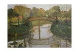 Cottage garden with bridge About 1908