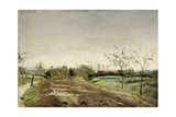 Morning landscape with carriage approaching Münster 1887