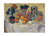 Still life with oranges and stoneware dog 1907
