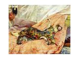 Porträt von Sarah Bernhardt in einem chinesischen Interieur