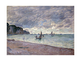 Fishing Boats in front of the Beach and Cliffs of Pourville