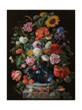 Tulips  a sunflower  an iris and numerous other flowers in a glass vase on marble column base
