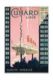 Cunard Line' - Werbeplakat für Reisen von Europa nach Amerika mit der Reederei Cunard Line