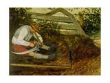 Bauer beim Dengeln seiner Sense (Detail aus: Die Heuernte  siehe Bildnummer 870)