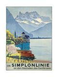 'Simplonlinie' - Plakatwerbung für eine Zugfahrt rund um den Genfer See