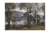 Ville-d'Avray: Blick auf der See durch das Gebüsch 1865-70