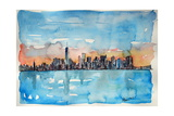 Downtown Manhattan Skyline At Dusk In Watercolor