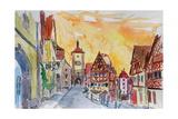 Romantic Rothenburg Tauber Germany Frankonia Sunset